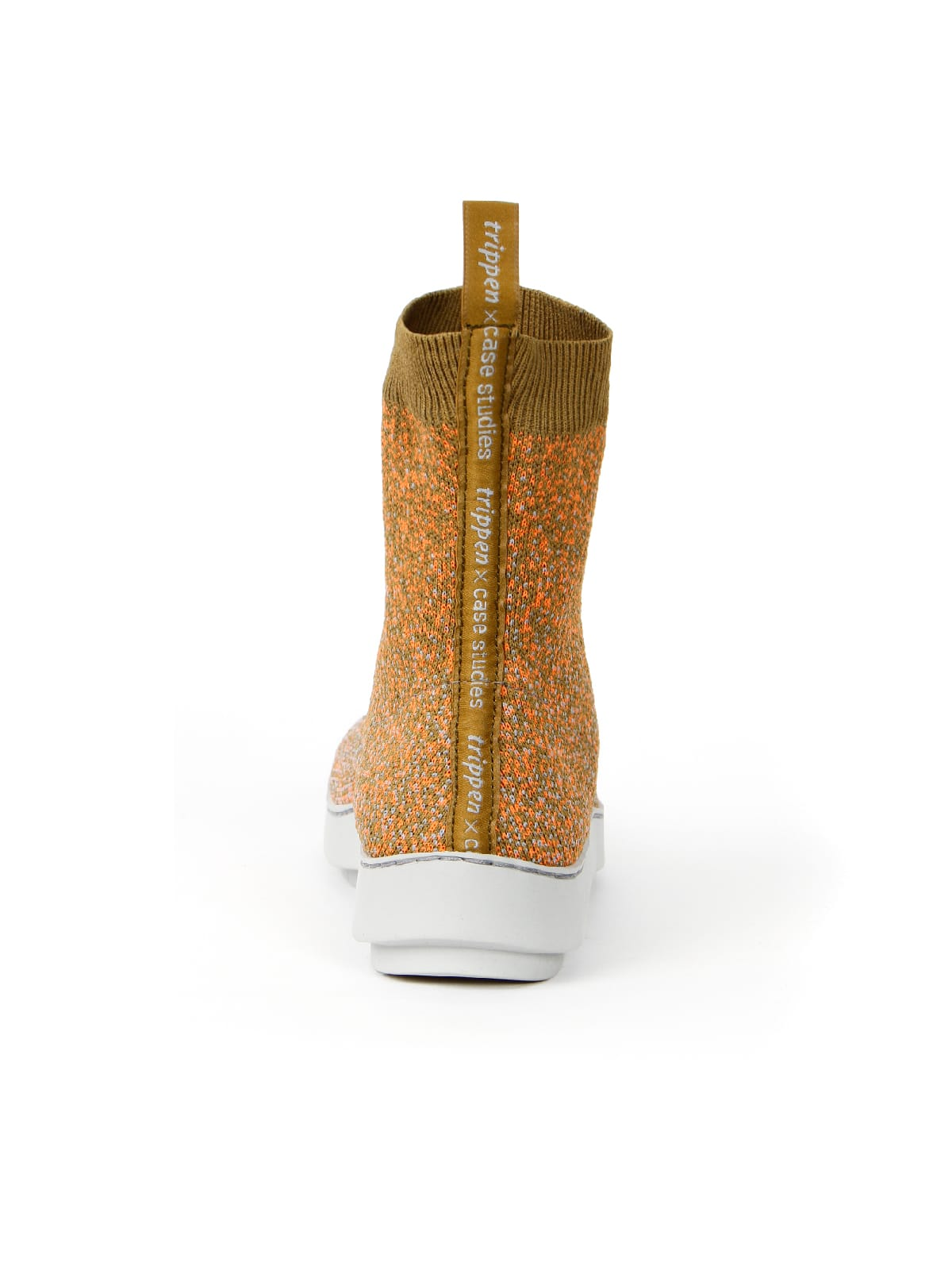 3D knitted sockboot Sparkle papaya hinten
