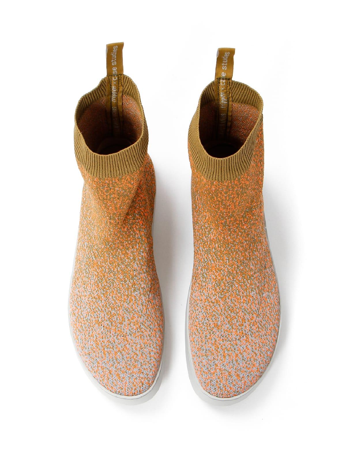 3D knitted sockboot Sparkle papaya oben