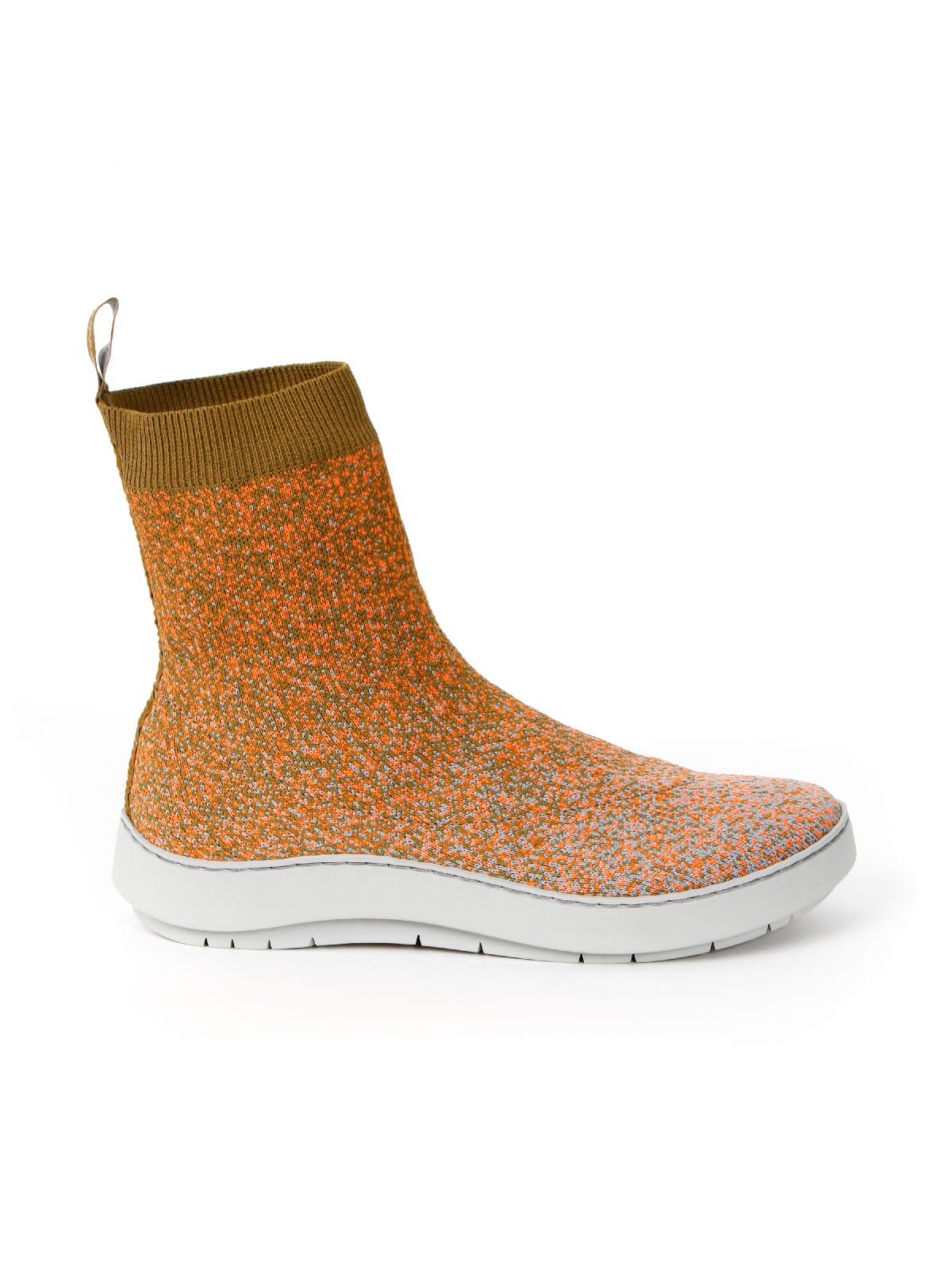 3D knitted sockboot Sparkle papaya rechts