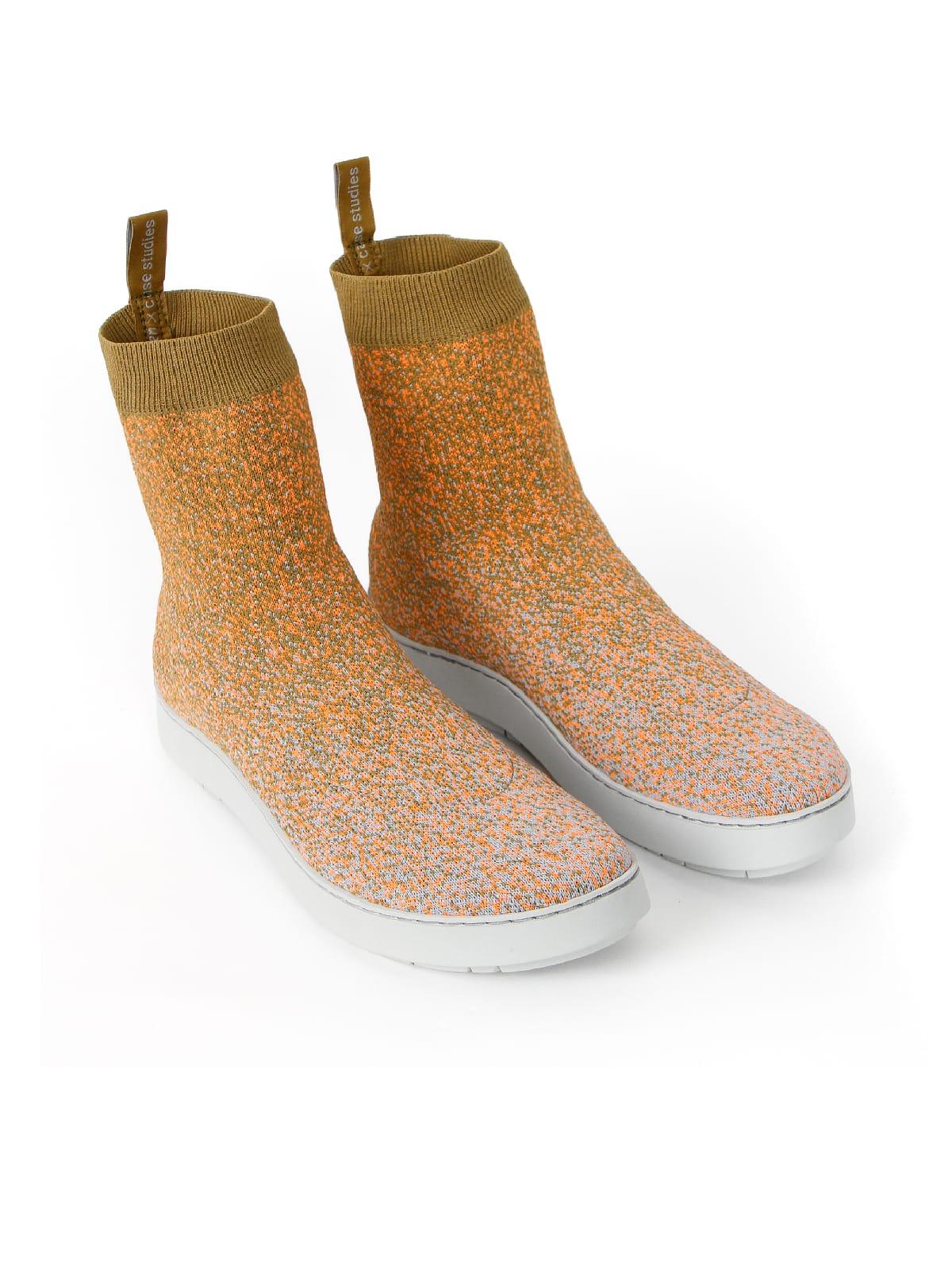3D knitted sockboot Sparkle papaya schräg