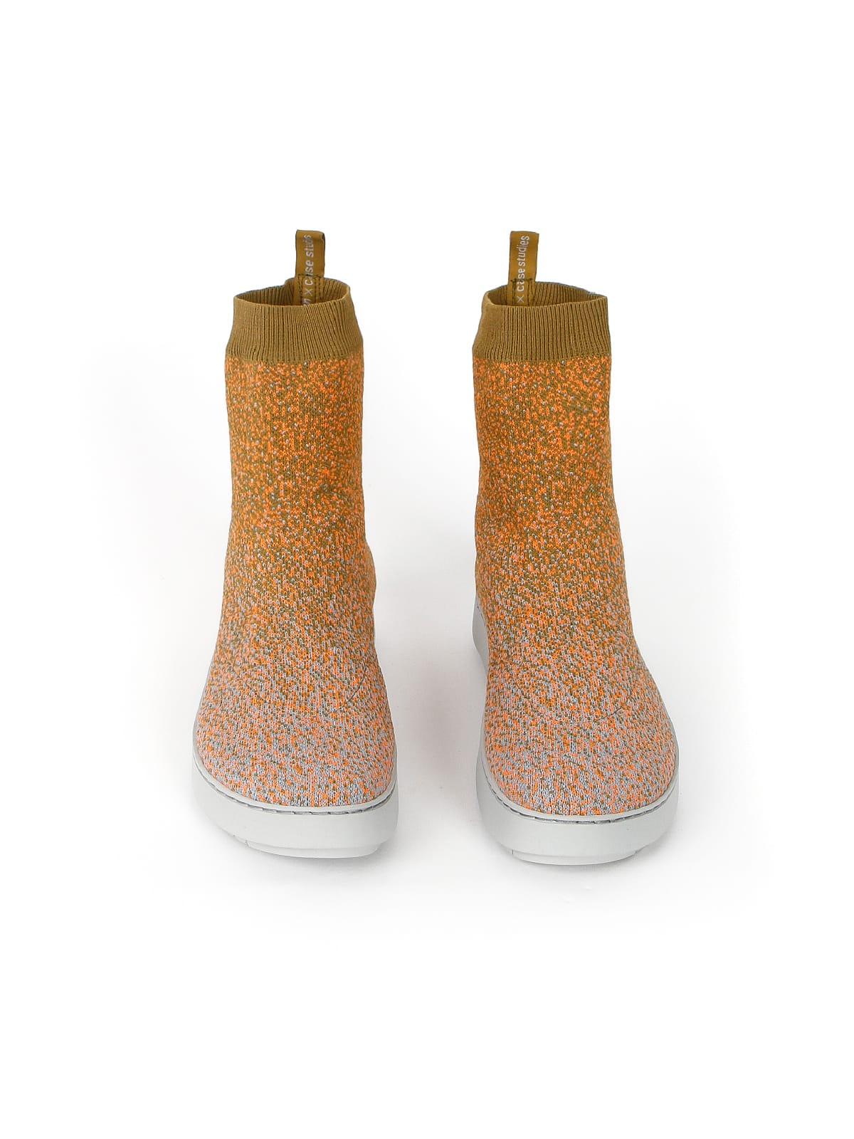 3D knitted sockboot Sparkle papaya vorne