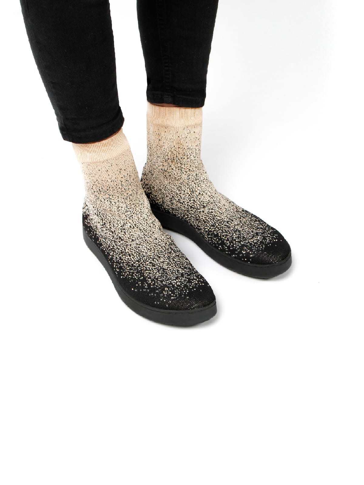 3D knitted sockboot Sparkle starry schräg K