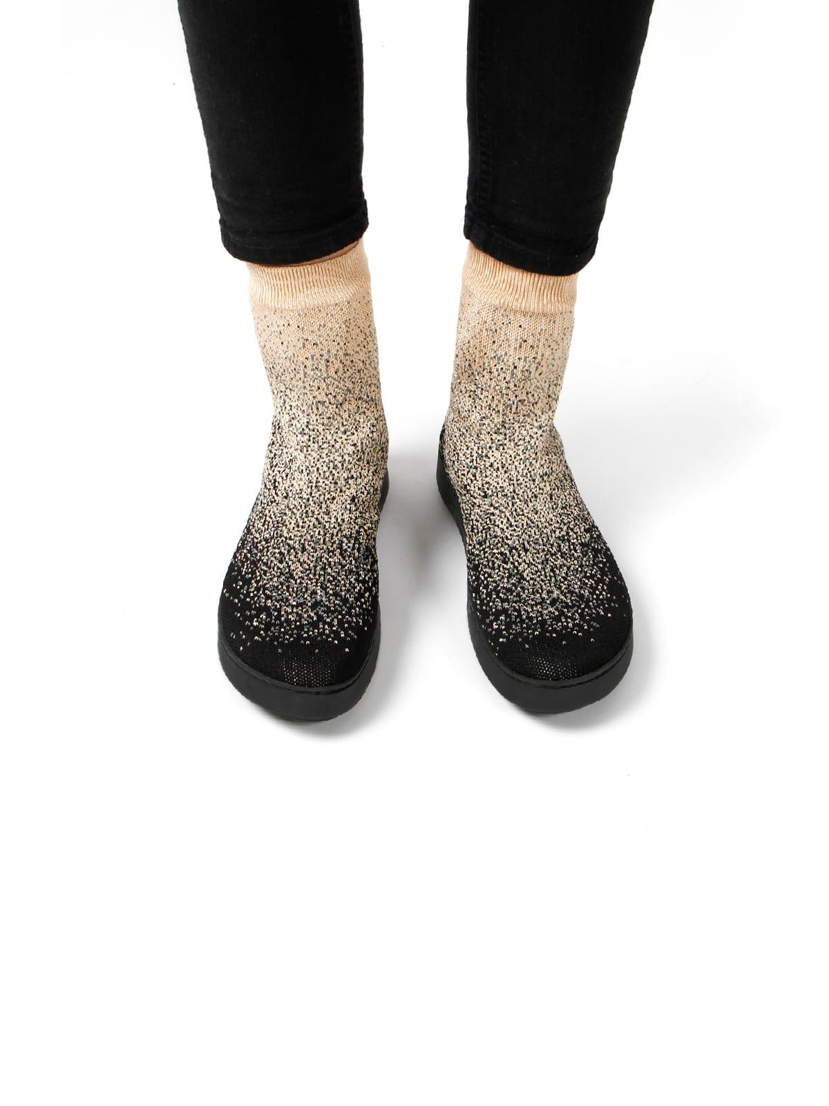 3D knitted sockboot Sparkle starry vorne K