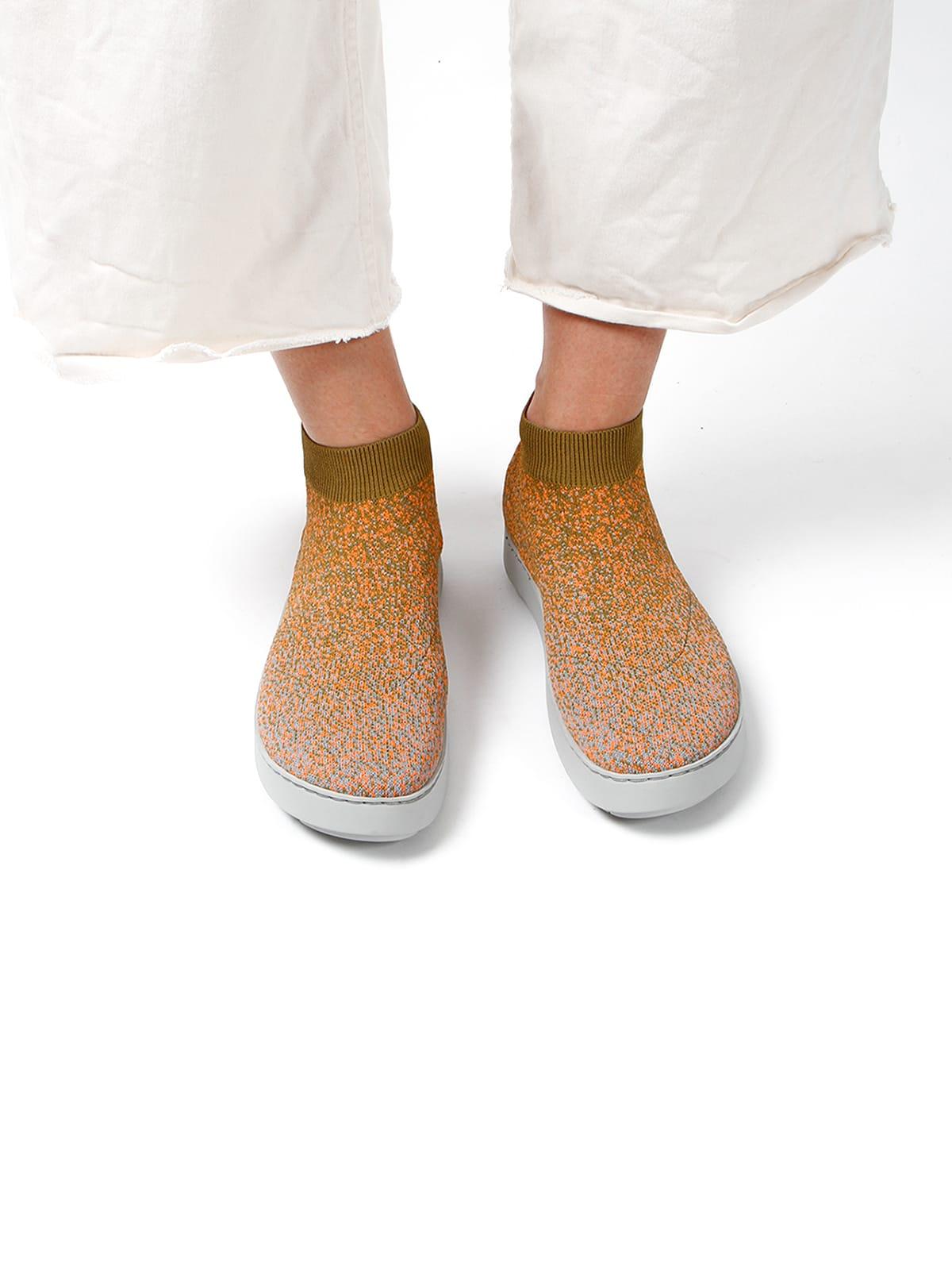 3D knitted sockboot Spexx papaya vorne K
